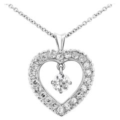 Roman Malakov Old European Cut Diamond Pendant Heart Necklace