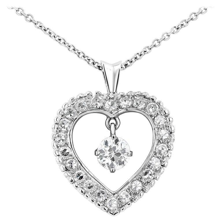 Roman Malakov Old European Cut Diamond Pendant Heart Necklace For Sale