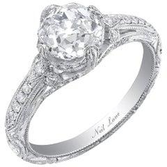 Neil Lane Couture Old European-Cut Diamond, Platinum Engagement Ring