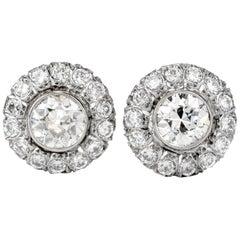Old European Cut Diamond Platinum Halo Stud Clip-On Earrings