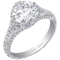 Neil Lane Couture Old European Cut Diamond, Platinum Ring