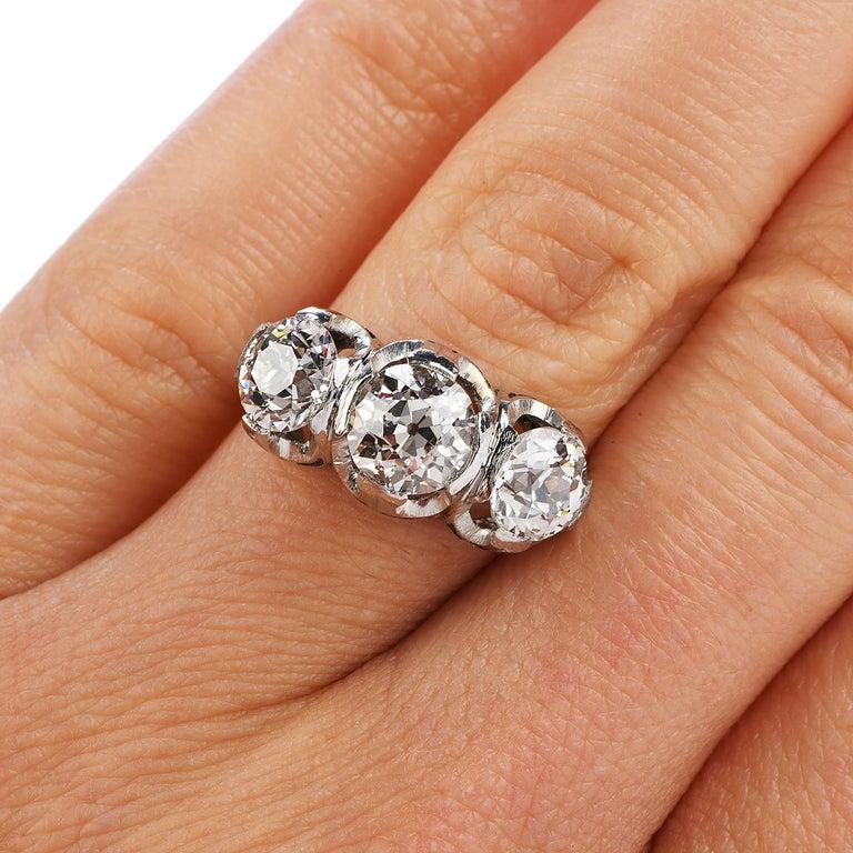 Women's Old European Cut Diamond Platinum Three Stone Ring For Sale