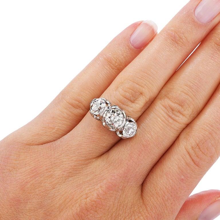 Old European Cut Diamond Platinum Three Stone Ring For Sale 1