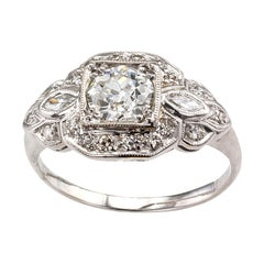 Old European Cut Diamond Platinum White Gold Engagement Ring