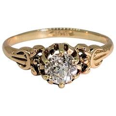 Old European Cut Diamond Ring 14 Karat Rose Gold
