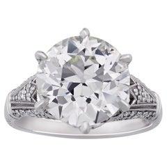 Old European-Cut Diamond Ring, 5.05 Carats