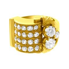 Old European Cut Diamond Ring in 18k Yellow Gold