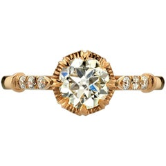 Old European Cut Diamond Rose Gold Engagement Ring