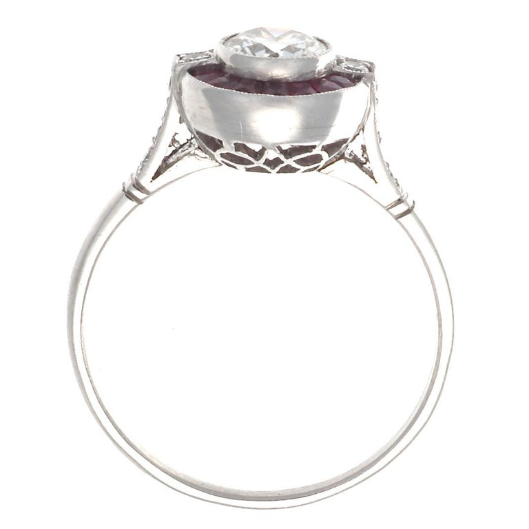 Art Deco Old European Cut Diamond Ruby Platinum Ring For Sale