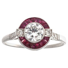 Old European Cut Diamond Ruby Platinum Ring