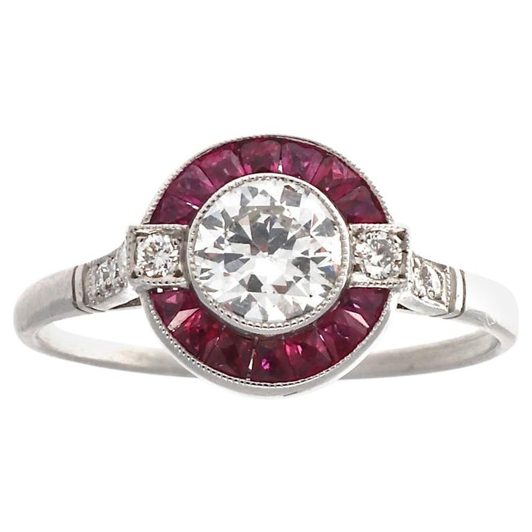 Old European Cut Diamond Ruby Platinum Ring For Sale