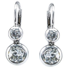 Old European Cut Diamond Silver Gold Drop Earrings