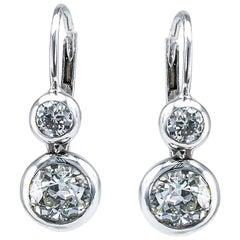 Old European Cut Diamond Silver Gold Drop Earrings