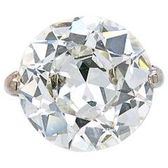 Old European Cut Diamond Solitaire Ring, 9.62 Carat, I-VS2, circa 1900