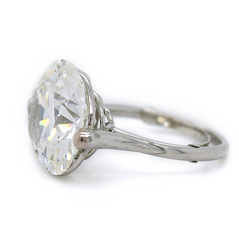 Women's Old European Cut Diamond Solitaire Ring, 9.62 Carat, I-VS2, circa 1900 For Sale