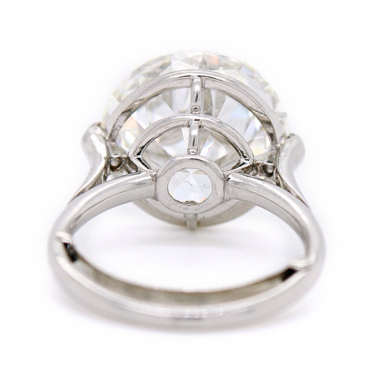 Old European Cut Diamond Solitaire Ring, 9.62 Carat, I-VS2, circa 1900 For Sale 2
