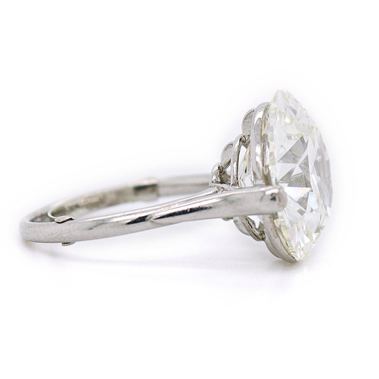 Old European Cut Diamond Solitaire Ring, 9.62 Carat, I-VS2, circa 1900 For Sale 4