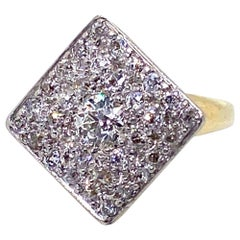 Old European Cut Diamond Square Top Platinum and 14 Karat Yellow Gold Dress Ring