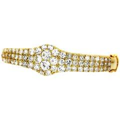 Old European Cut Diamond 7.5 Carats Three-Row Bangle, in 18 K Yellow Gold, Retro