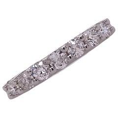 Old European Cut Diamond Wedding Band Ring 18 Karat White Gold U Prong