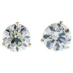 Old European Cut Diamond White Gold Stud Earrings