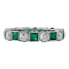 Handcrafted Brecken European Cut Diamond/Square Cut Emerald Band by Single Stone