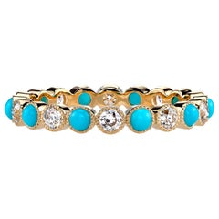 Handcrafted Gabby European Cut Diamond/Turquoise Eternity Band by Single Stone