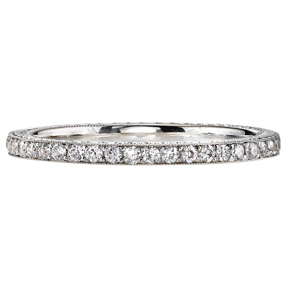 Old European Cut Diamonds Set in an Handcrafted Gold Eternity Band