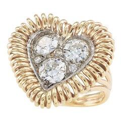 Old European Cut Diamonds Yellow Gold Heart Ring