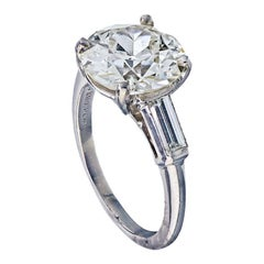 Old European Cut Three-Stone Diamond Engagement Ring in Platinum