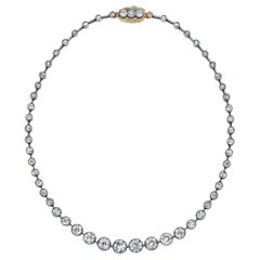 Platinum/18k Old European Cut Diamond 25 Carat Riviera Necklace
