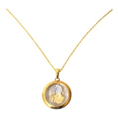 Old European Diamond 18 Yellow Gold Estate Twirling Monkey Pendant Necklace