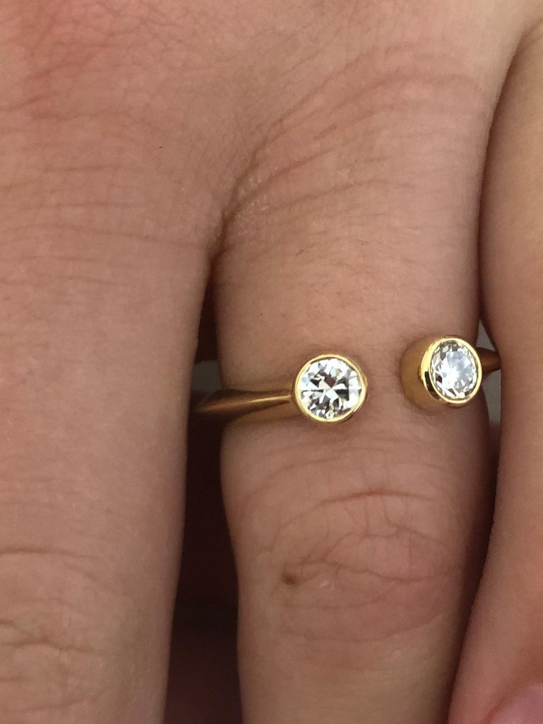 Round Cut Old European Diamond and 18 Karat Gold Engagement Ring For Sale