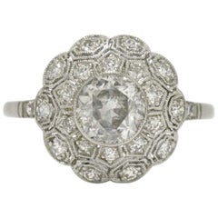 Old European Diamond Art Deco Style Filigree Flower Cluster Engagement Ring