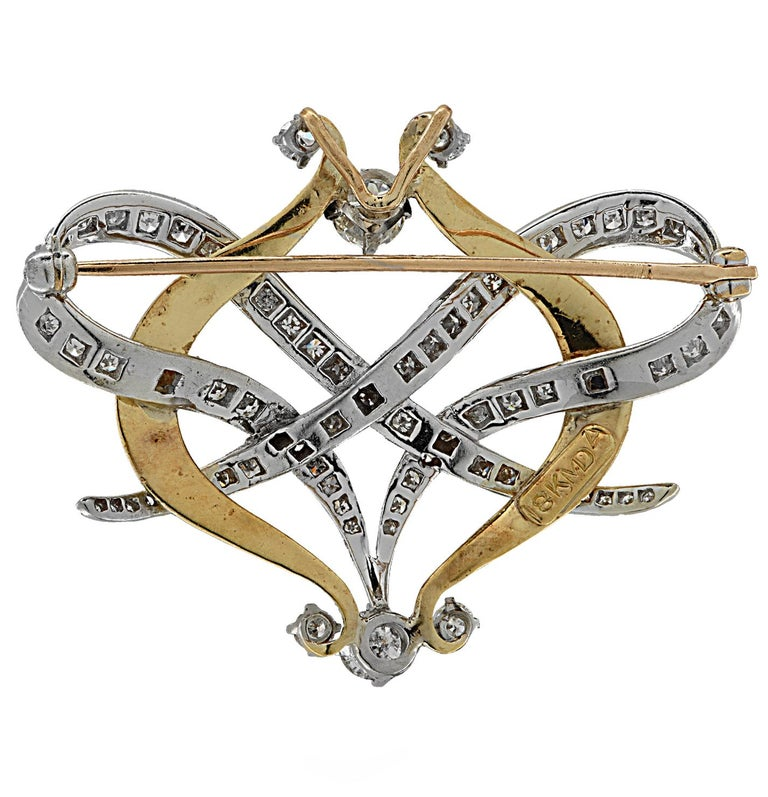 Art Deco Old European Diamond Brooch Pin and Pendant For Sale