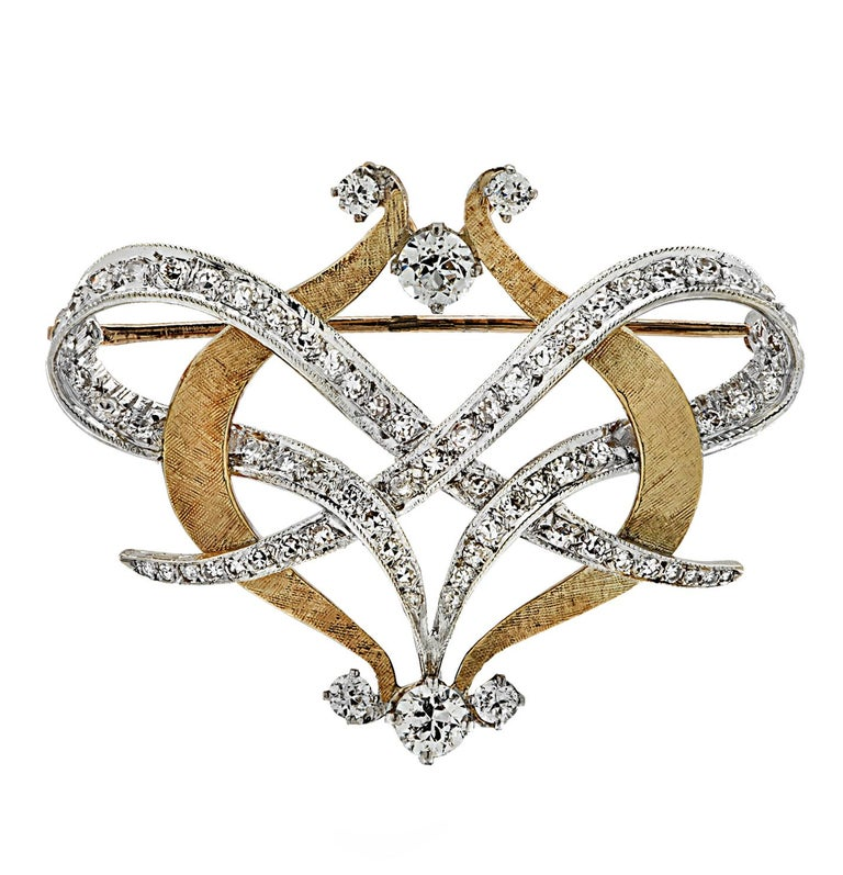 Old European Cut Old European Diamond Brooch Pin and Pendant For Sale