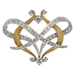 Old European Diamond Brooch Pin and Pendant