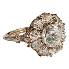Old European Diamond Cluster Ring