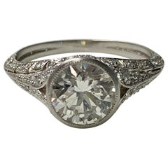 Old European Diamond Engagement Ring in Platinum