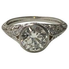 Old European Diamond Engagement Ring in Platinum