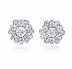 Old European Diamond Platinum Cluster Stud Earrings