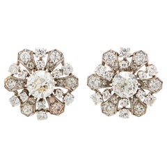 Old European Diamond Platinum Cluster Stud Earrings