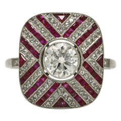 Old European Diamond & Ruby Engagement Ring Cocktail Ring Art Deco Style Stripes