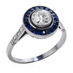 Old European Diamond Sapphire Platinum Engagement Ring