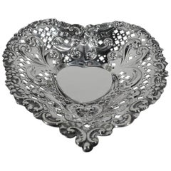 Old-Fashioned and Romantic Sterling Silver Heart Dish Bowl by Gorham