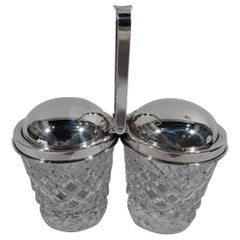 Old Fashioned Cartier Sterling Silver and Glass Double Jam Jars