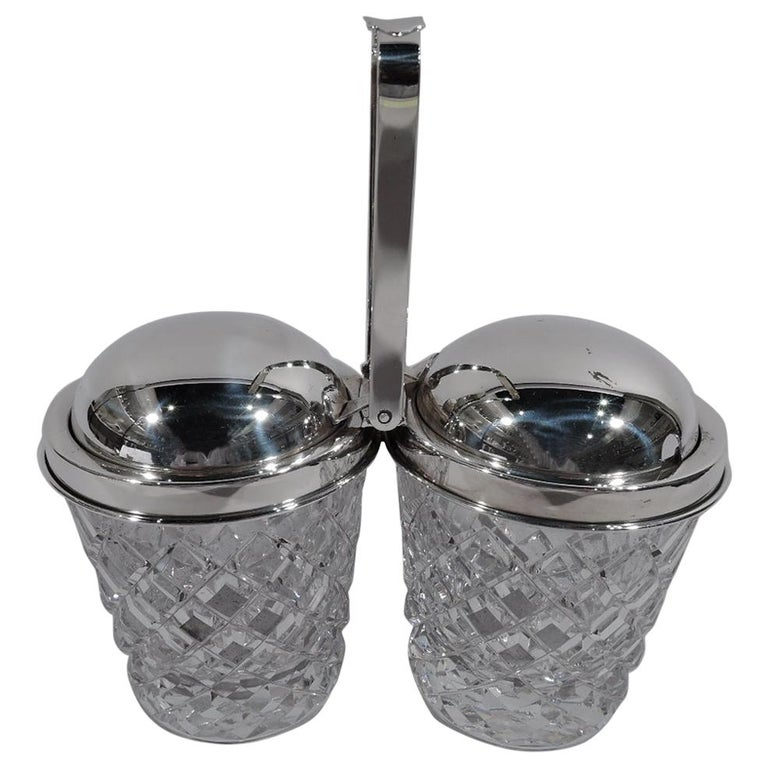 Old Fashioned Cartier Sterling Silver and Glass Double Jam Jars For Sale