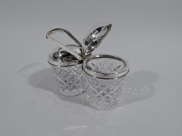 Edwardian Old Fashioned Cartier Sterling Silver and Glass Double Jam Jars For Sale