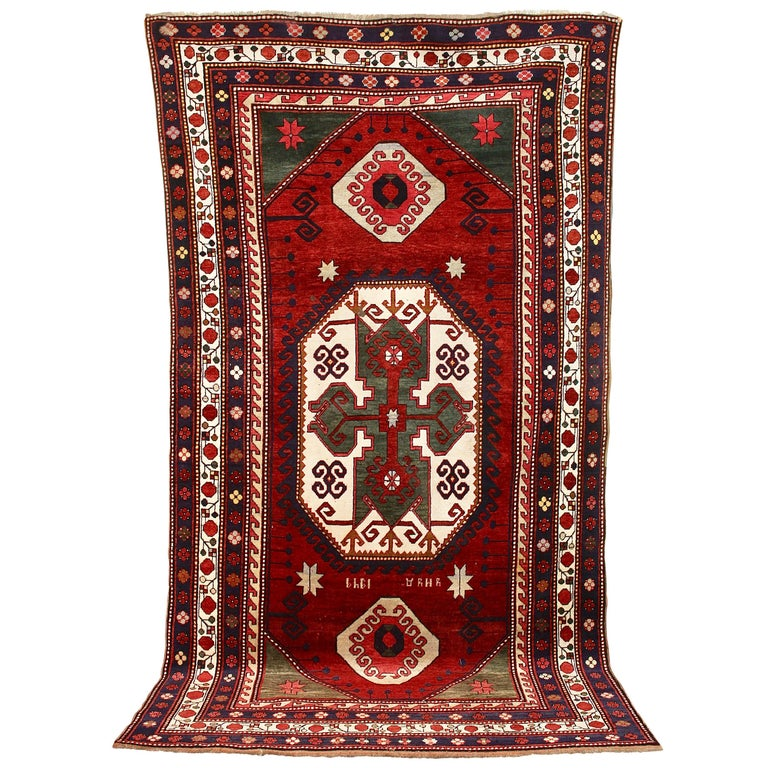 "Old Fine Caucasian Carpet, Rug, Kazak, So-Called ""Lori"
