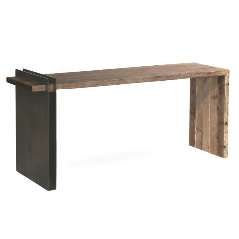 Italian Old Fir Wood and Iron Desk / Console, Made in Italy For Sale